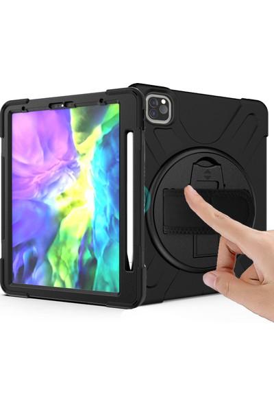 Happyshop Apple iPad Pro 12.9 2020 Kılıf Standlı Askılı Ultra Korumalı Defender Kapak