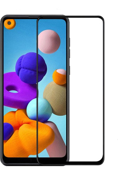 Happyshop Samsung Galaxy A21S 5D Cam Ekran Koruyucu Siyah