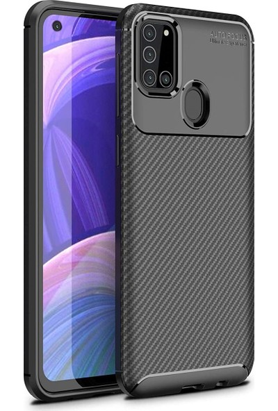 Happyshop Samsung Galaxy A21S Kılıf Karbon Desenli Lux Negro Silikon + Nano Cam Ekran Koruyucu
