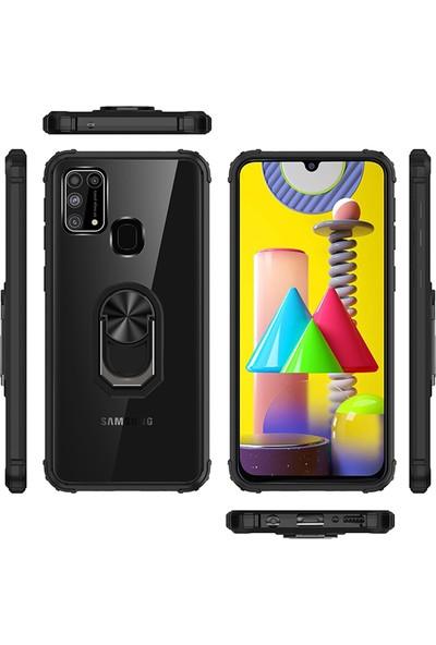 Happyshop Samsung Galaxy M31 Kılıf Renkli Kenarlı Şeffaf Yüzüklü Manyetik Mola Kapak + Cam Ekran Koruyucu