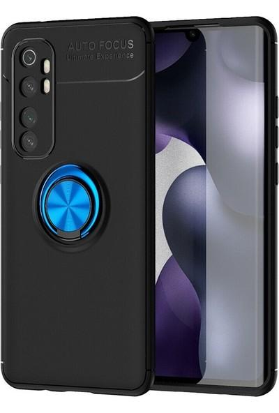 Happyshop Xiaomi Mi Note 10 Lite Kılıf Yüzüklü Manyetik Ravel Silikon + Nano Cam Ekran Koruyucu