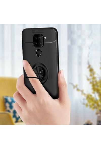Happyshop Xiaomi Redmi Note 9 Kılıf Yüzüklü Manyetik Ravel Silikon + Cam Ekran Koruyucu