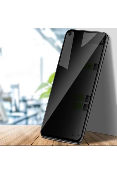 Happyshop Xiaomi Redmi Note 9 Yanlardan Gözükmeyen Kavisli 5D Privacy Cam Ekran Koruyucu Siyah