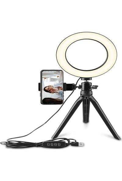 """Saywin Masaüstü Youtuber 360° LED Mini Tripod Makyaj Selfie Işığı 8"""" Halka"""