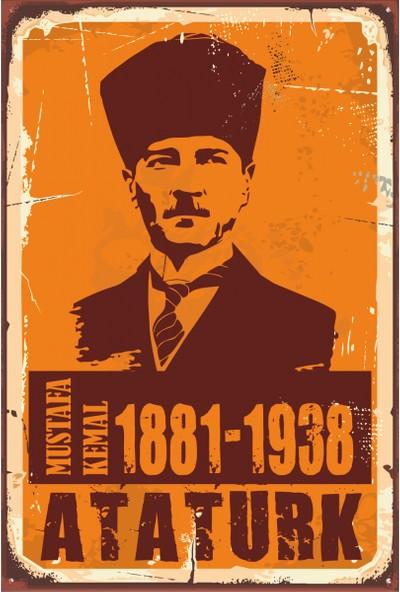 Hayat Poster Mustafa Kemal Atatürk Retro Vintage Ahşap Poster