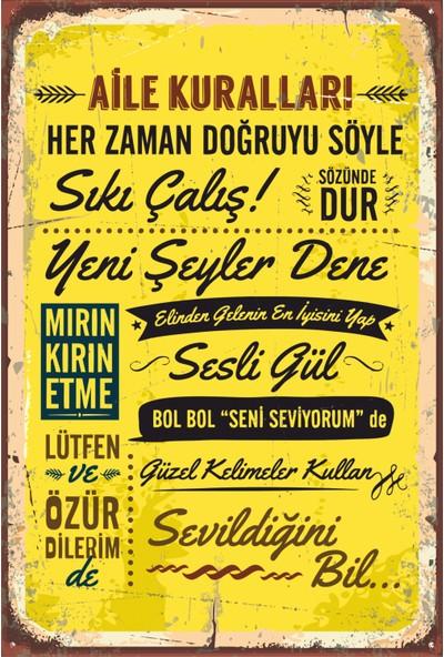 Hayat Poster Aile Kuralları Tablosu Ahşap Poster
