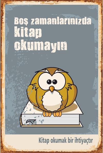 Hayat Poster Boş Zamanlarınızda Kitap Okumayın Retro Vintge Ahşap Poster