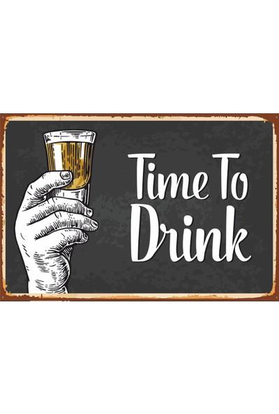 Hayat Poster Timo To Drink Içki Zamanı Retro Vintage Ahşap Poster