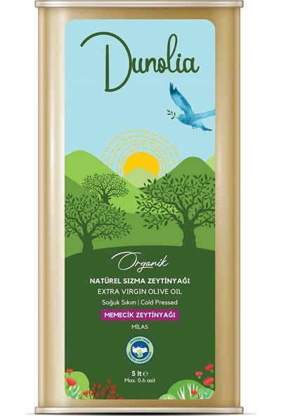 Dunolia Organik Natürel Sızma Zeytinyağı 5 lt Soğuk Sıkım