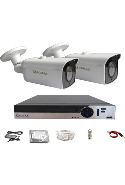 Qromax Pro 6224 2' Li 5 Megapiksel Sony Lens 1080P Aptina Sensör Metal Kasa Güvenlik Kamerası Seti