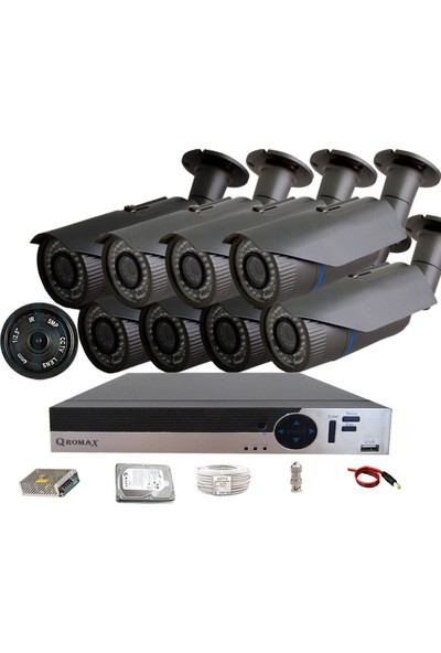 QROMAX PRO 2042 8'Li 5 Megapiksel Sony Lens 1080P Aptina Sensör Güvenlik Kamerası Seti