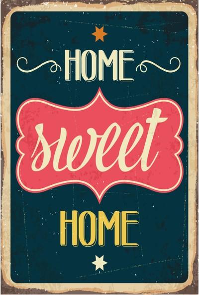 Hayat Poster Home Sweet Home Evim Güzel Evim Retro Vintage Ahşap Poster