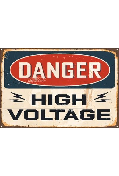 Hayat Poster Tehlikeli Yüksek Voltaj Uyarı Levhası Retro Vintage Ahşap Poster