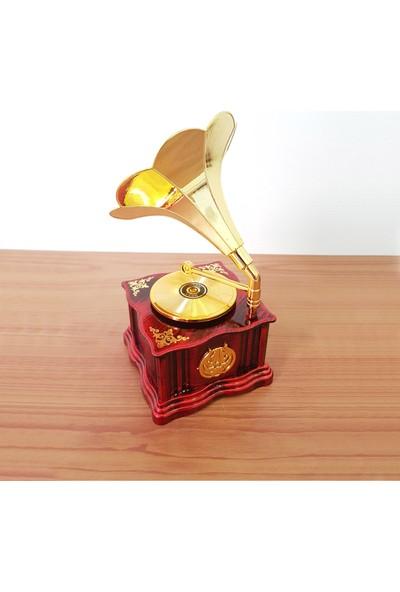 Chavin Dekoratif Nostaljik Dönen Plaklı Gramafon Müzik Kutusu HD132