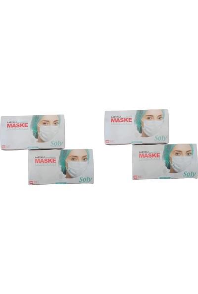 Soly Care Tek Kullanımlık Üç Katlı Telli Cerrahi Maske 50 Adet 4'lü