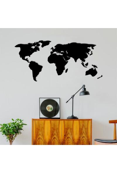 Masif Dekor Dekoratif Tablo Dünya Haritası 140 cm Siyah