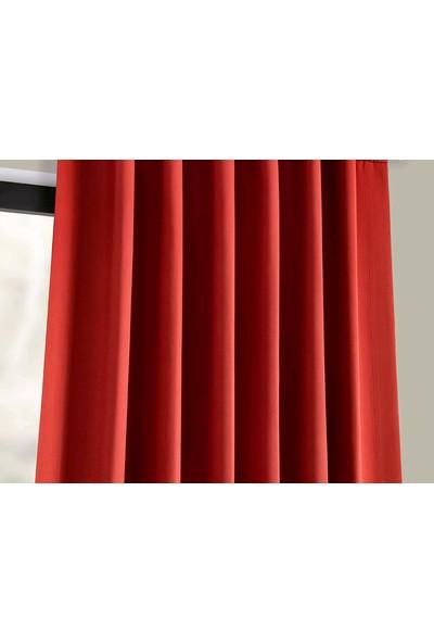 Evdepo Home Hazır Karartma Blackout Pilesiz Fon Perde Kırmızı 50 x 240 cm