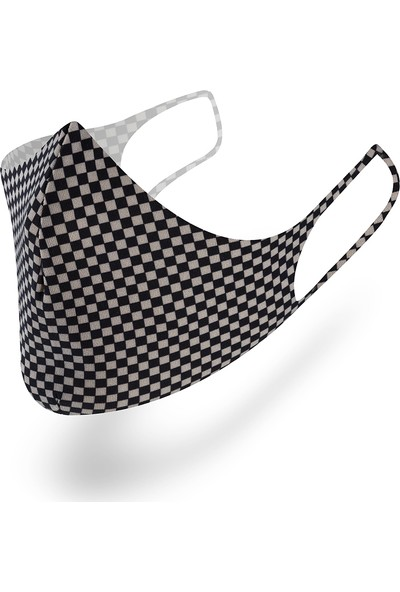 Mutlu Maske Muhteşem 3'lü Black Siyah Desenli Yıkanabilir Kumaş Maske Unisex