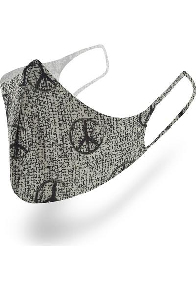 Mutlu Maske Muhteşem 3'lü Classic Gri Siyah Desenli Klasik Yıkanabilir Kumaş Maske Unisex