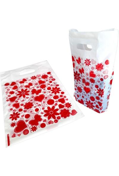 Hoşgör Plastik Takviyeli Poşet Kalpli Beyaz 26 x 38 5 Paket: 250'LI