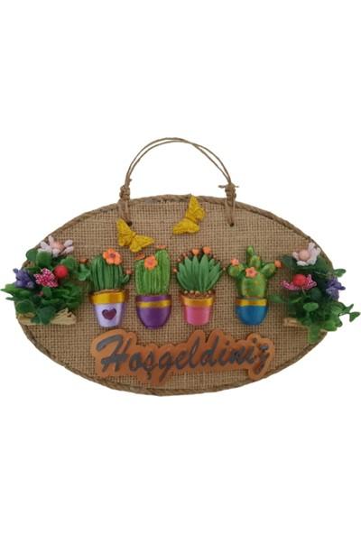 Mixperi Çiçeklerin Büyüsü Hoşgeldiniz Yazılı Kapı Süsü