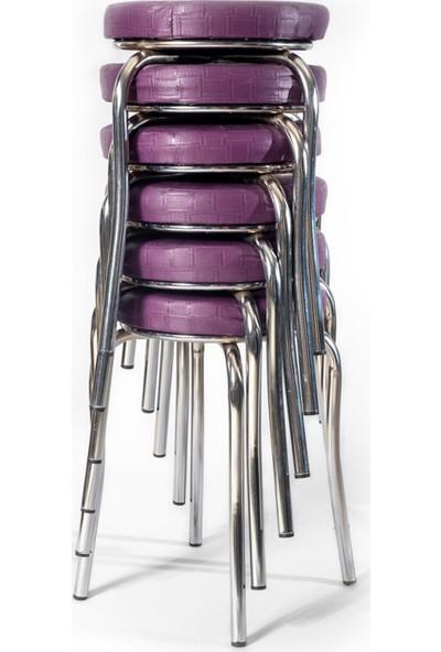 Ekip Shop Tabure Mutfak Sandalyesi 6'lı Mor