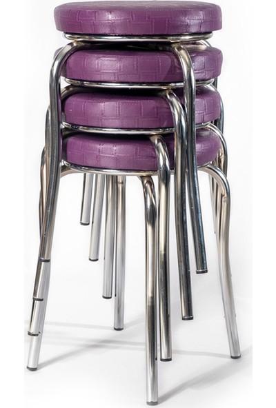 Ekip Shop Tabure Mutfak Sandalyesi 4'lü Mor
