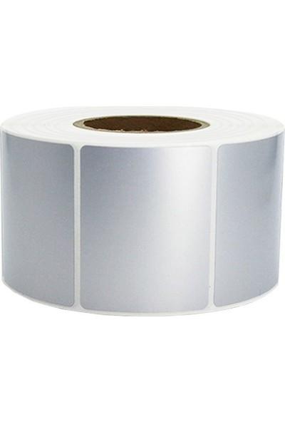 On Roll Paper Silver Mat Barkod Etiketi 100 x 75 Tekli 500'lük Sarım 4 Rulo