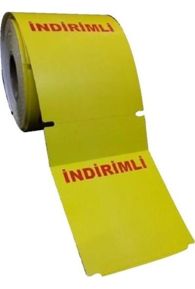 "On Roll Paper 135 x 100 Eko Termal Karton Sarı ""İndirimli"" Raf Etiketi 300'lü 10 Rulo"