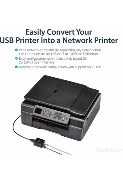 Startech Print Server 10/100MBPS Ethernet To USB 2.0 (PM1115U2) (Yurt Dışından)