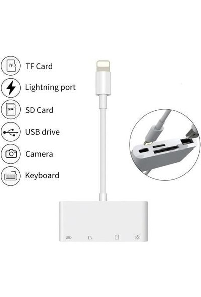 Mobitell 4in1 Lightning To USB Type C Micro Sd Tf Kart Okuyucu