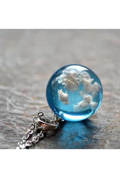 Chavin 3 Boyutlu Mavi Bulut Bayan Kolye EG08