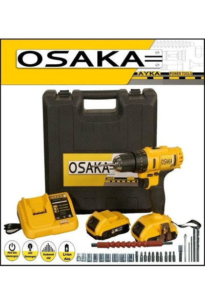 Osaka 32 Volt 5.0 Amper Çift Akülü 27 Parça Uç Setli Şarjlı Vidalama Matkap