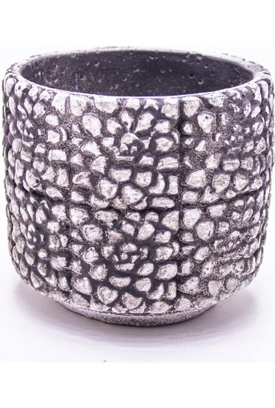 Veramaya Gül Desenli Siyah Beyaz Beton Saksı 12X11X12 Cm
