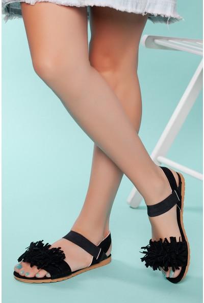 Muggo SNDLT04 Kadın Püskül Sandalet