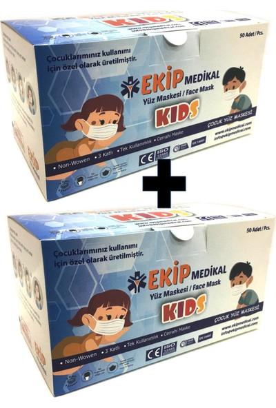 Ekip Medikal Ultrasonik 3 Katlı Burun Telli Cerrahi Çocuk Maskesi 50'li x 2 Adet