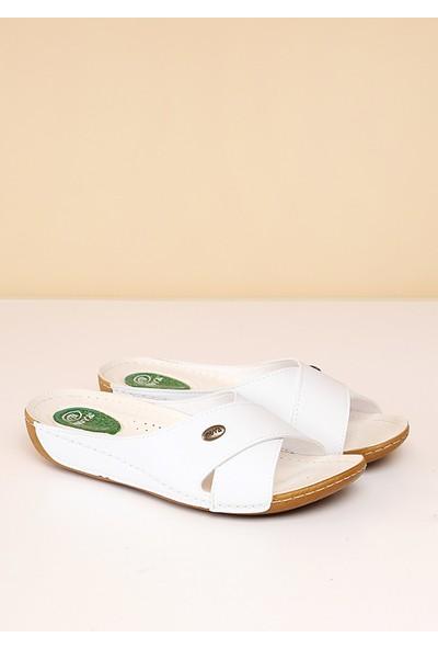 Muya 24219 Beyaz Jel Topuk Ortopetik Taban Terlik