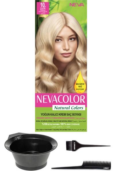 Neva Color Natural Color Kalıcı Krem Saç Boyası 10 Platin + Saç Boyama Seti