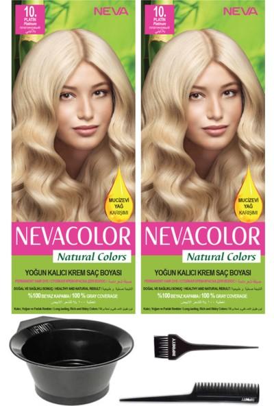 Neva Color Natural Color Kalıcı Krem Saç Boyası 2'li 10 Platin + Saç Boyama Seti