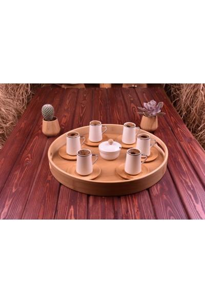 Evim Tatlı Evim Bambu Tabaklı Porselen Fincan Takımı 6 Kişilik
