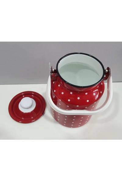 Evim Tatlı Evim Emaye Süt Güğümü Bakraç Saklama Kabı Kırmızı 3 lt