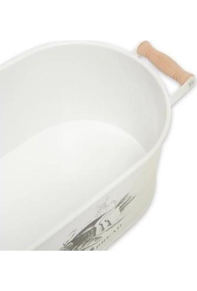 Evim Tatlı Evim Ahşap Kapaklı Metal Ekmek Kutusu Beyaz
