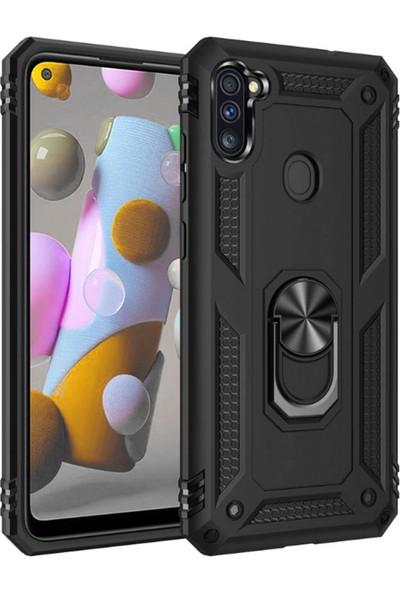 Tekno Grup Samsung Galaxy M11 / A11 Kılıf Çift Katmanlı Yüzüklü Manyetik Vega Kapak Siyah + Cam Ekran Koruyucu