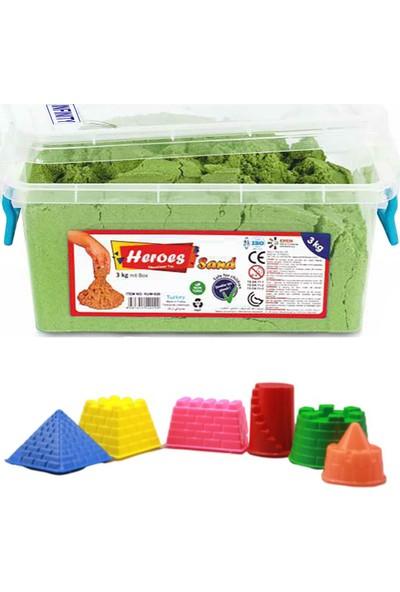 Heroes Kinetik Kum Yeşil ve Kale Kum Kalıpları Seti