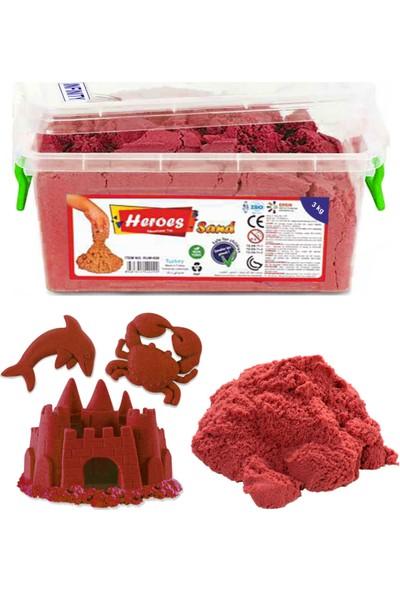 Heroes Kinetik Kum Kırmızı ve Kale Kum Kalıpları Seti
