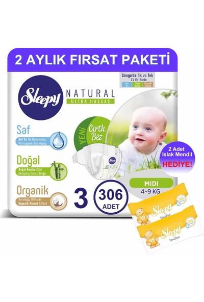 Sleepy Natural Bebek Bezi 2 Aylık Fırsat Paketi 3 Numara 306'LI 4 - 9 kg + Islak Mendil