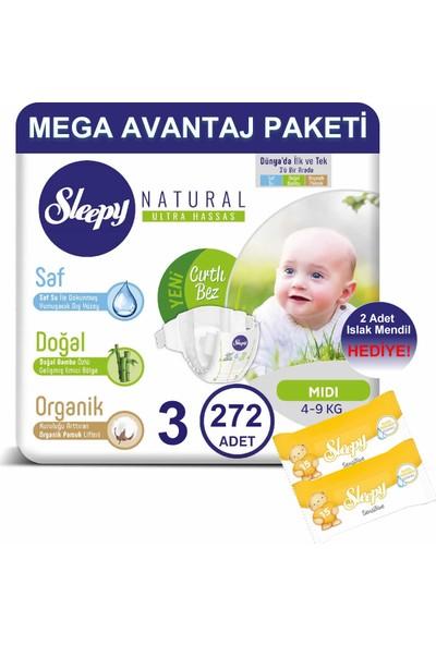 Sleepy Natural Bebek Bezi Mega Avantaj Paketi 3 Numara 272'LI 4 - 9 kg + Islak Mendil