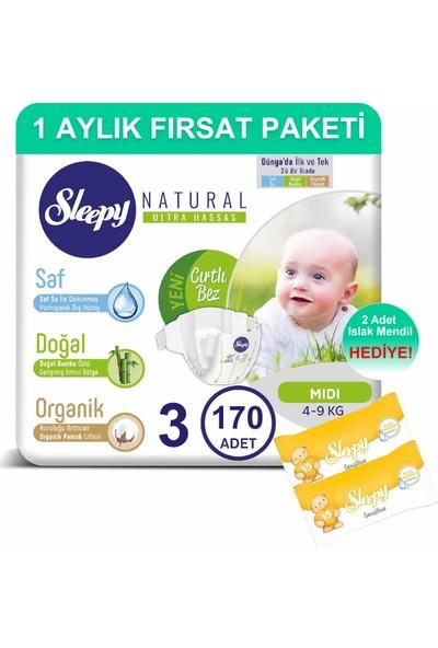Sleepy Natural Bebek Bezi 1 Aylık Fırsat Paketi 3 Numara 170'LI 4 - 9 kg + Islak Mendil