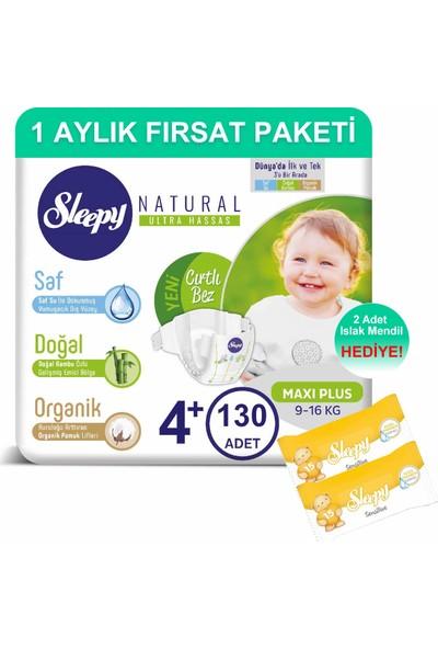 Sleepy Natural Bebek Bezi 1 Aylık Fırsat Paketi 4+ Numara 130'LU 9 - 16 kg + Islak Mendil