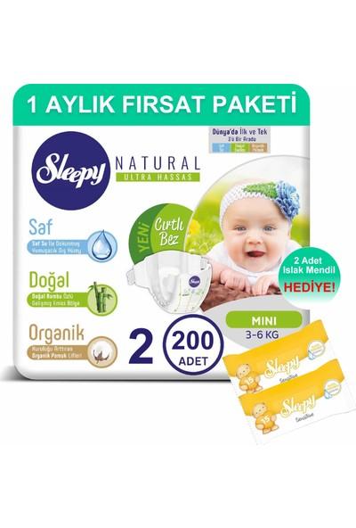 Sleepy Natural Bebek Bezi 1 Aylık Fırsat Paketi 2 Numara 200'LÜ 3 - 6 kg + Islak Mendil